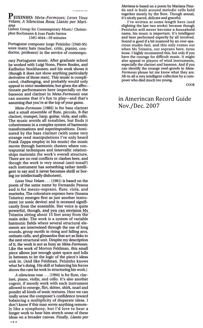"Crítica ""in Amerincan Record Guide 2007"""